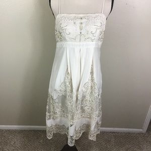 Sue Wong Nocturne Cream Beaded Cocktail Dress